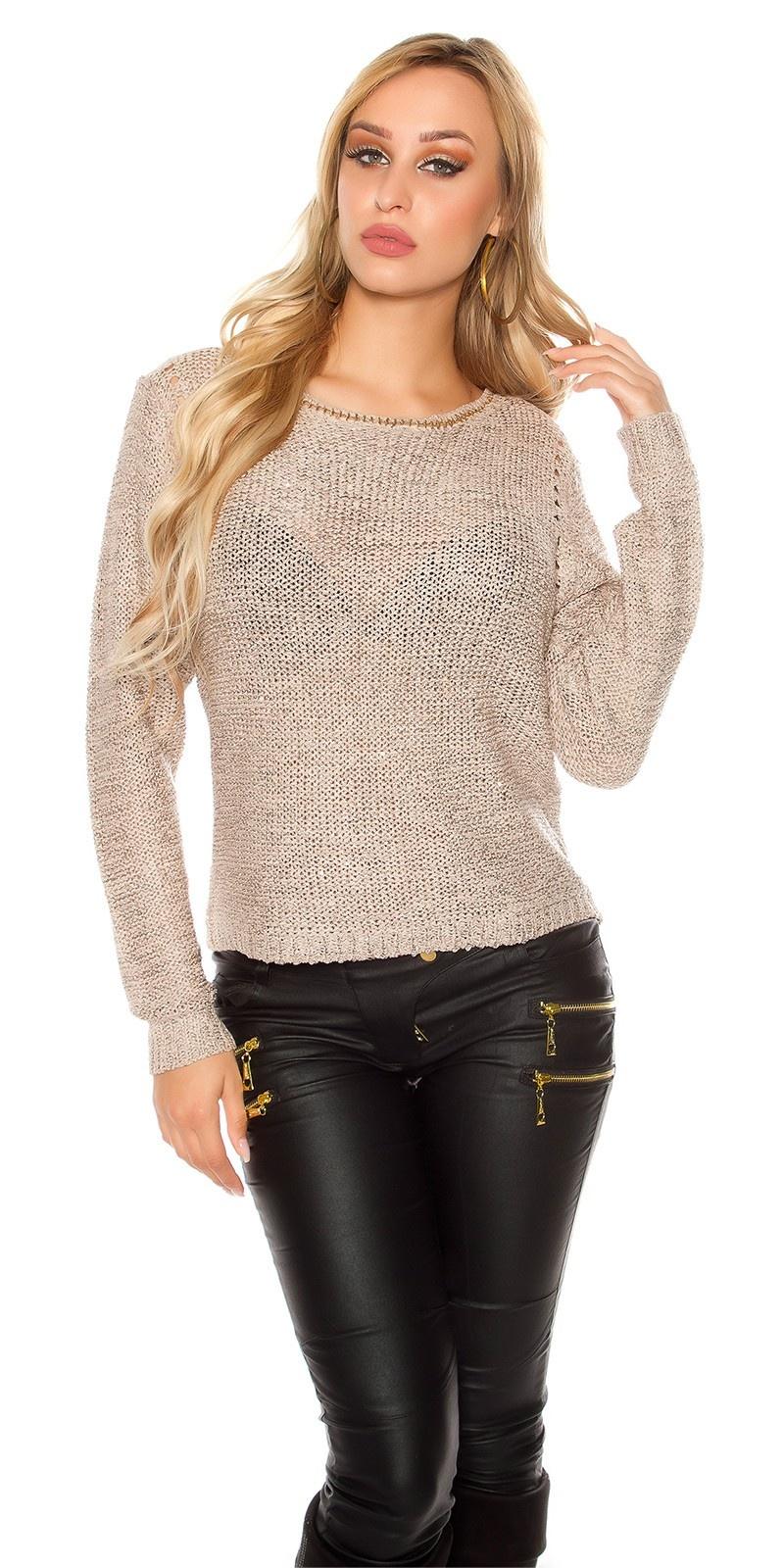 Sexy coarse cord sweater-trui met pailletten taupe