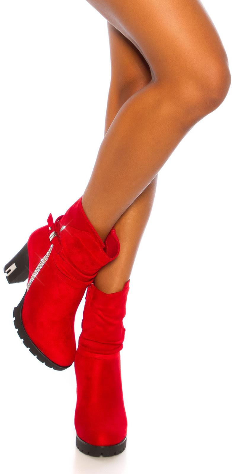 Sexy blokhak enkel laarzen met glitter steentjes rood