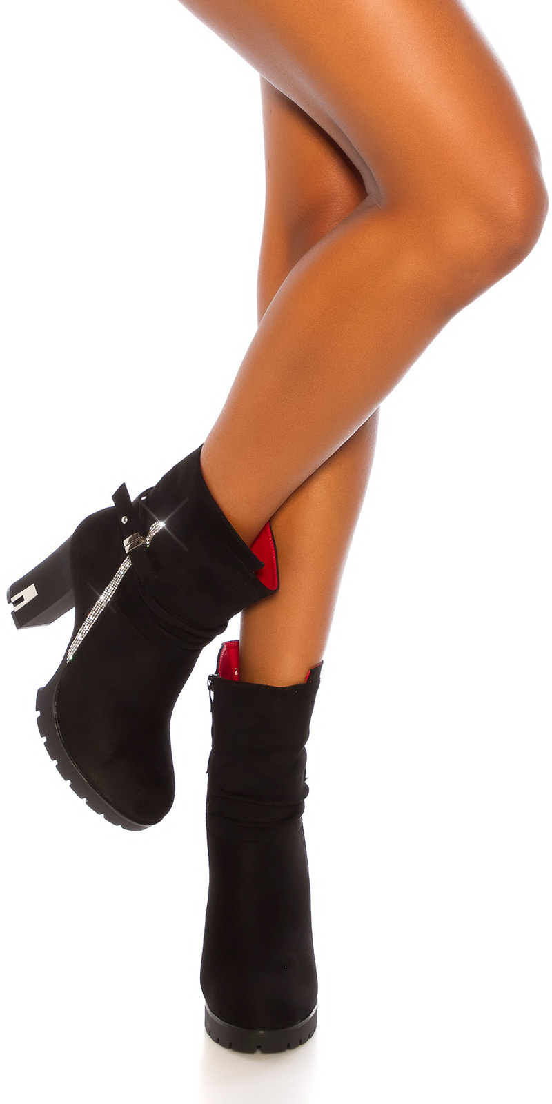 Sexy blokhak enkel laarzen met glitter steentjes zwart