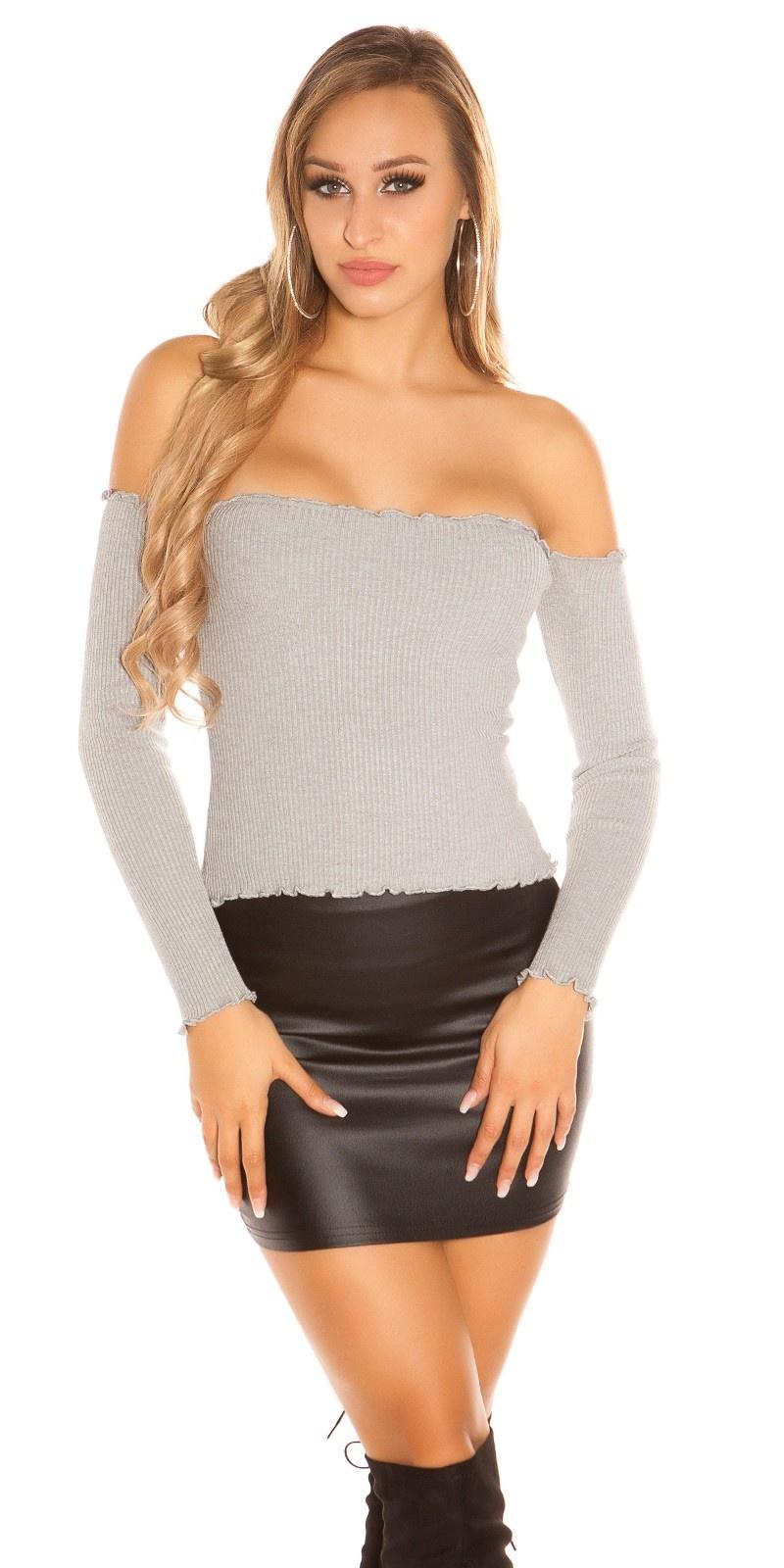 Sexy rib gebreide sweater-trui met carmen halslijn grijs