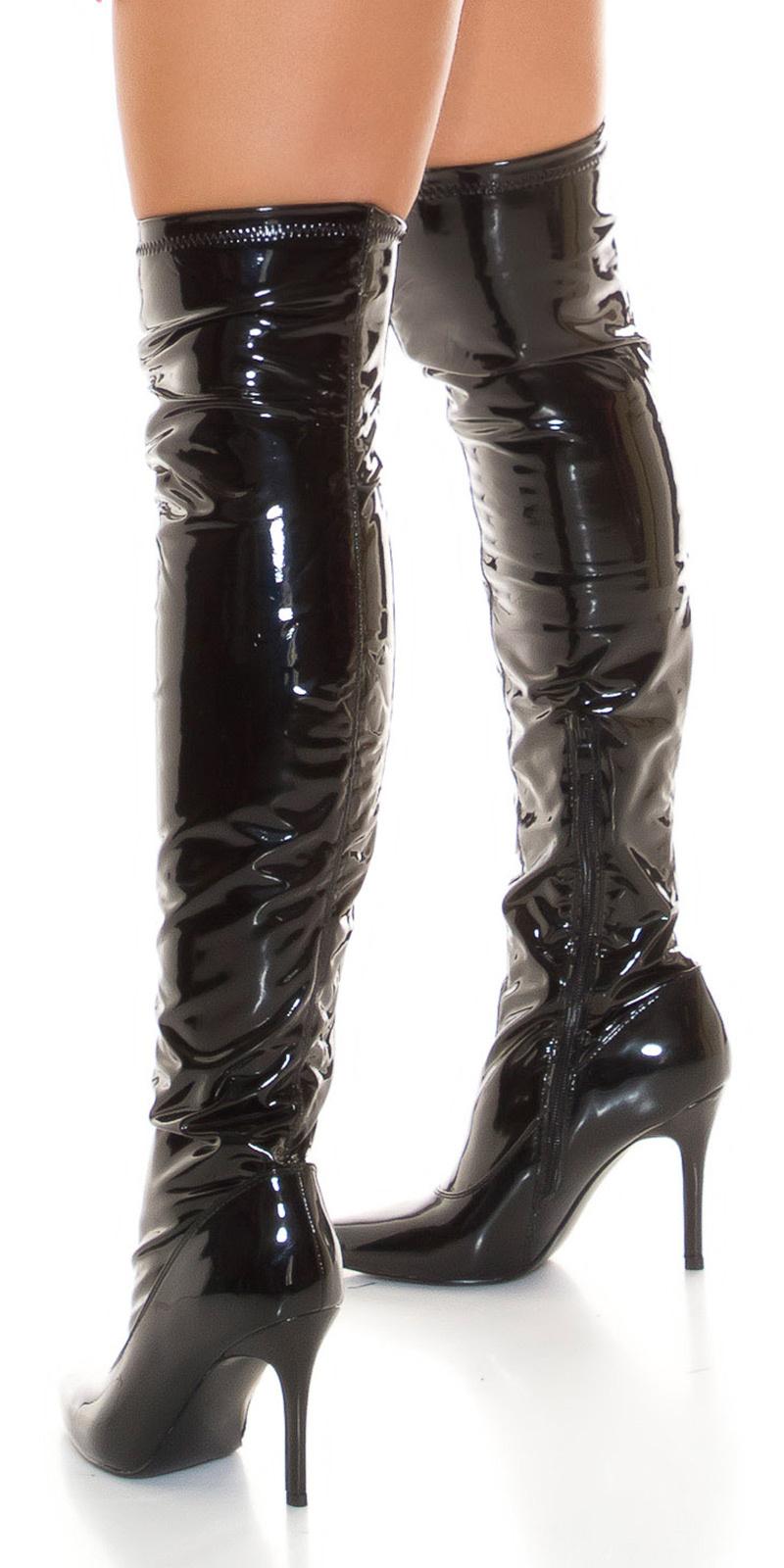 Sexy overknee lak laarzen zwart