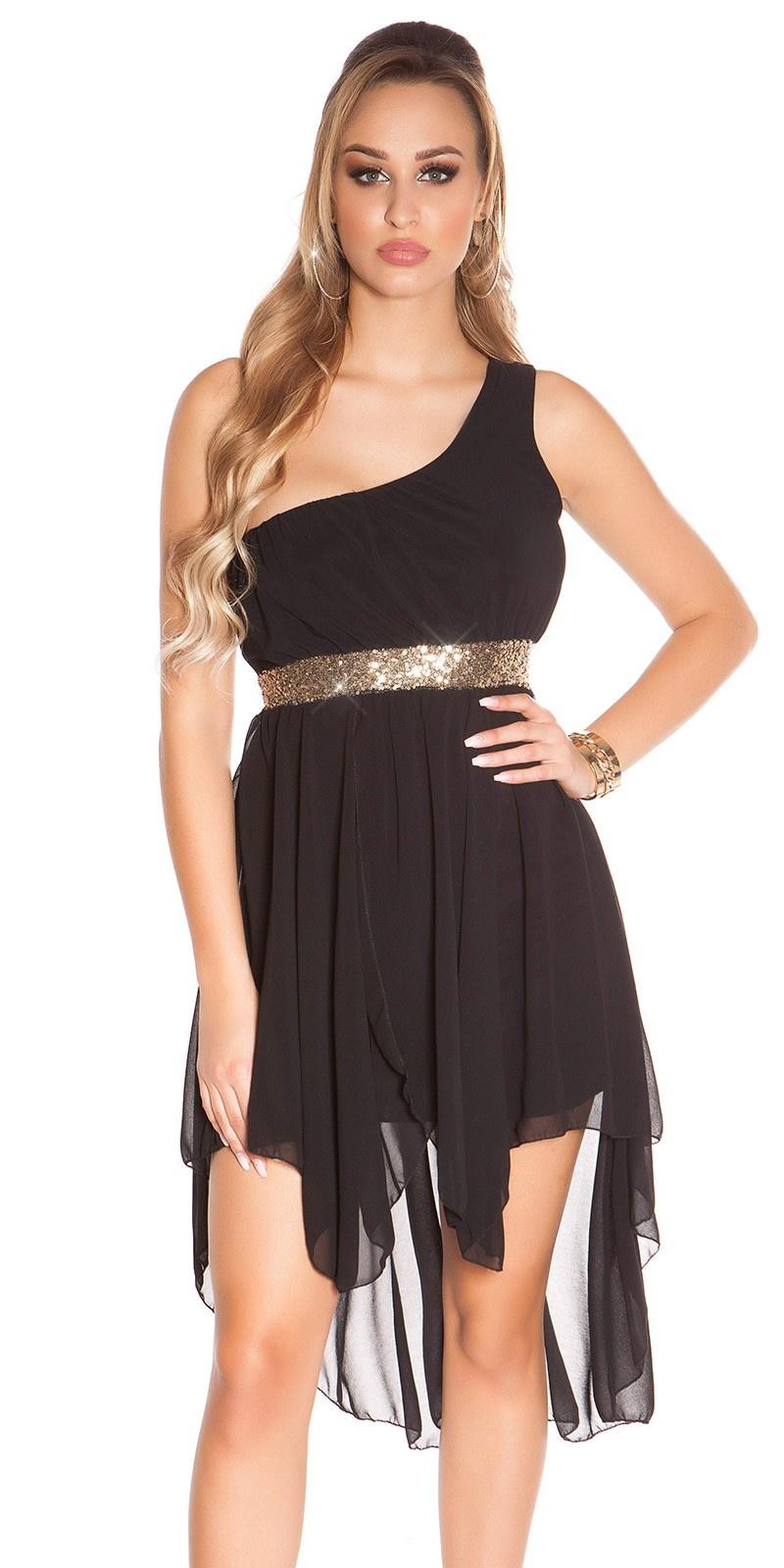 Sexy hoog-laag-jurkje met een-arm-strap zwart