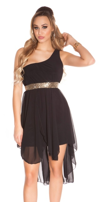 Sexy High-Low-dress with one-arm-strap Black