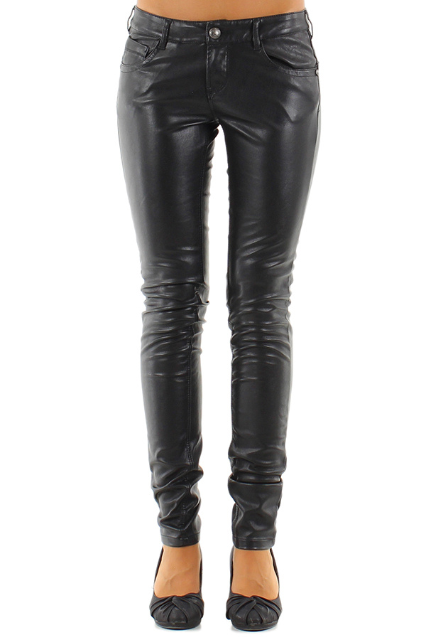 Skinny leder-look broek met push up en kanten detail