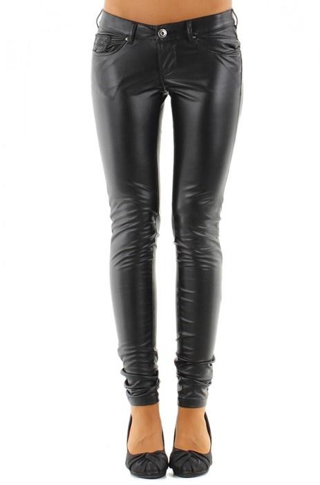 Skinny Leder-Look Broek met achterzak detail