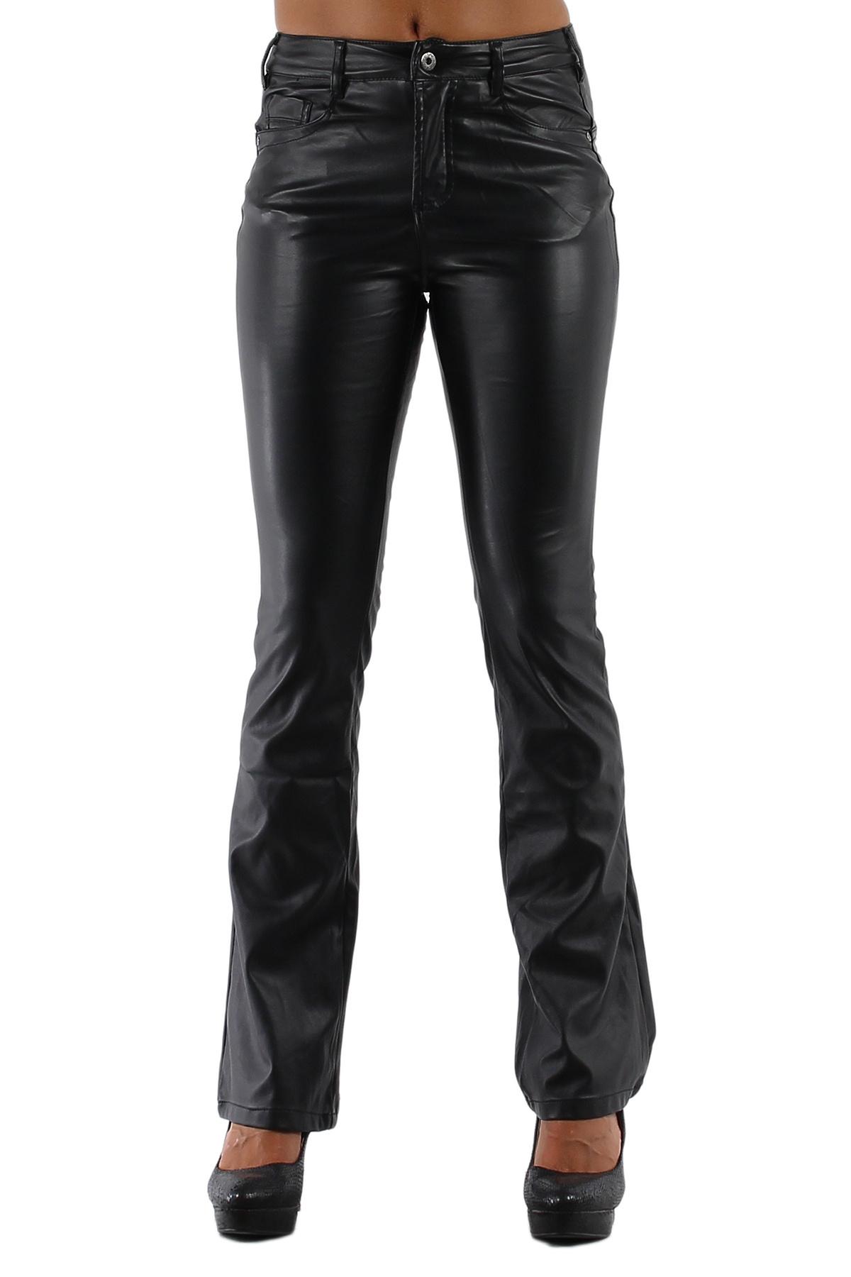 Broek hoge taille bootcut leder-imitatie Zwart