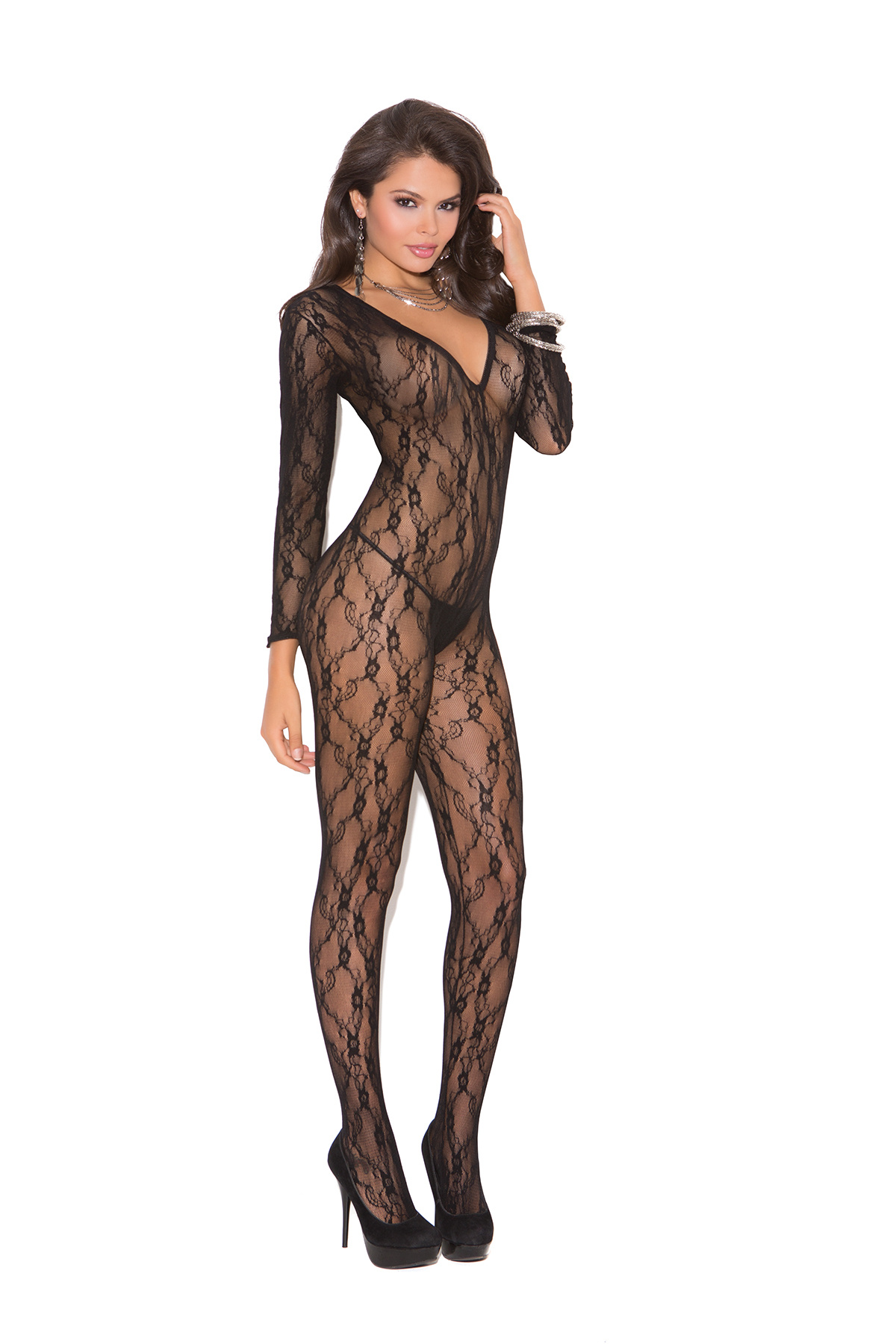 Long-Sleeved-Bodystocking Black