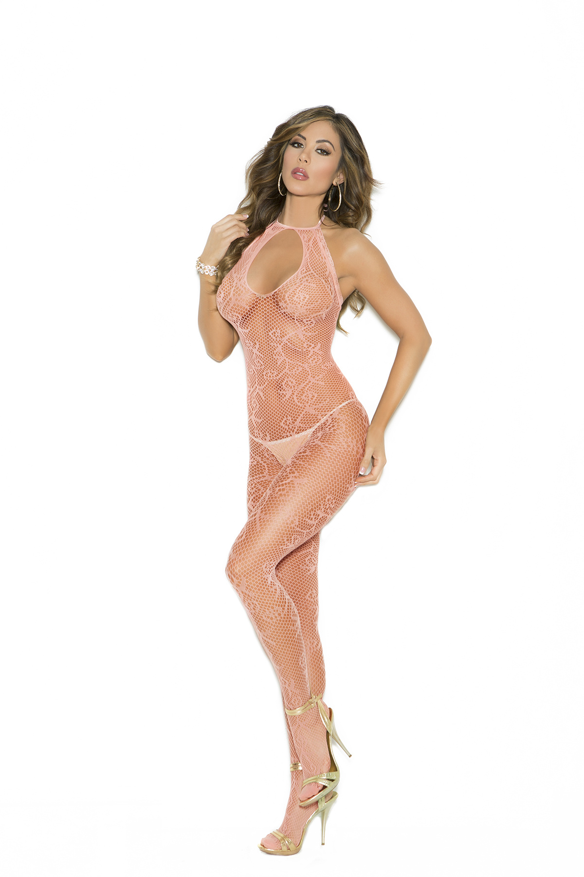 Net Bodystocking Perzik