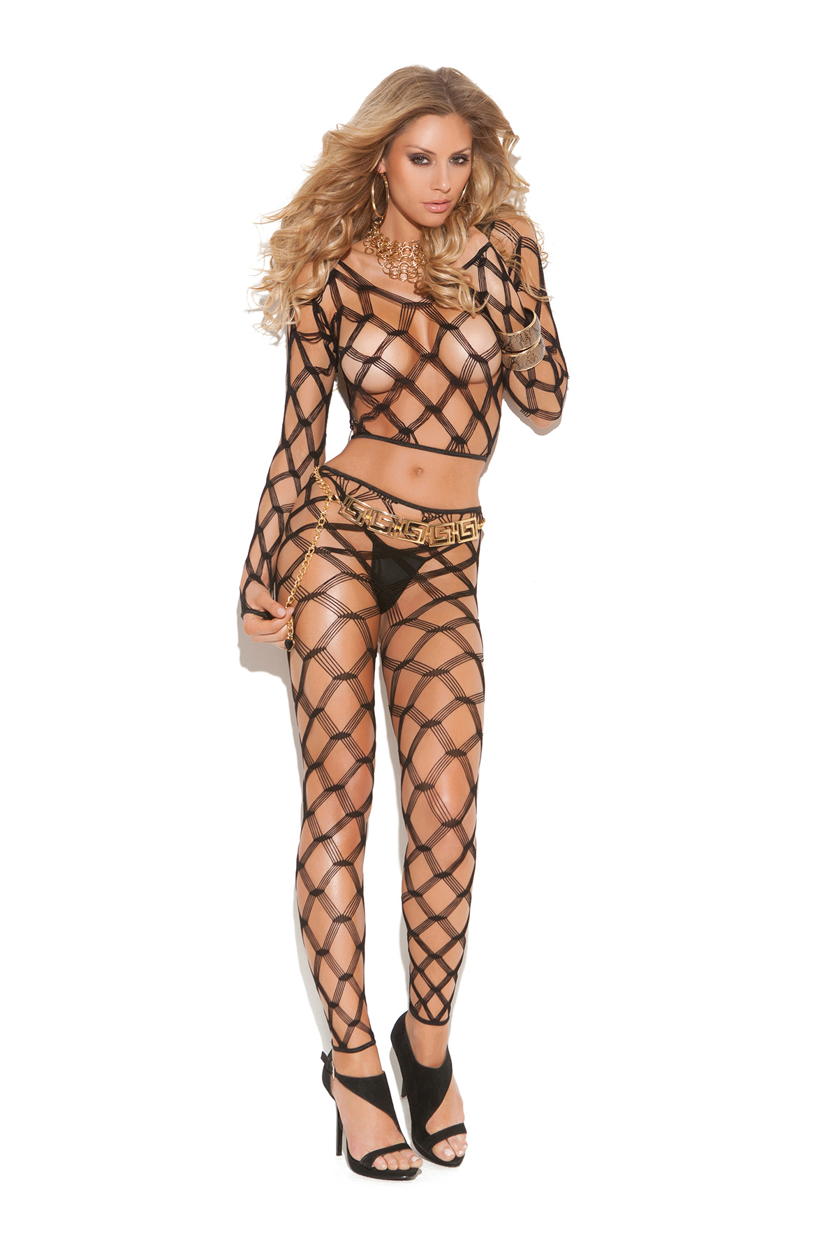 Diamond-Fishnet Top + Tights Set Black
