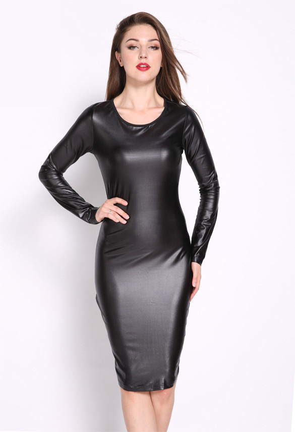 Wetlook Bandage Dress Zwart