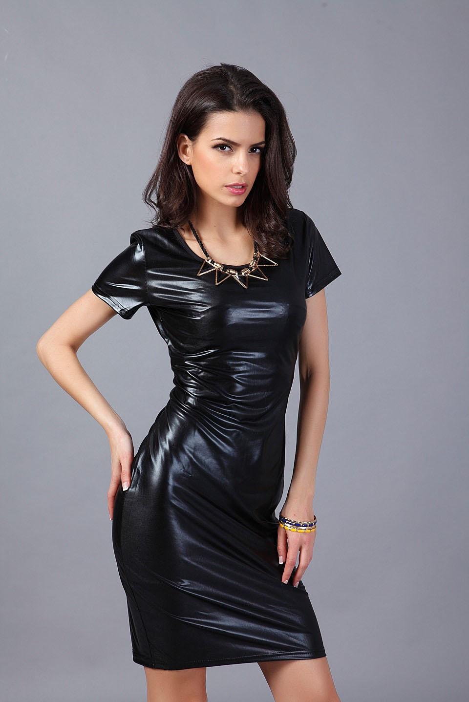 Sexy Wetlook Jurkje Zwart