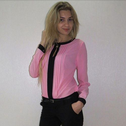 Chiffon Shirt met lange mouwen Roze