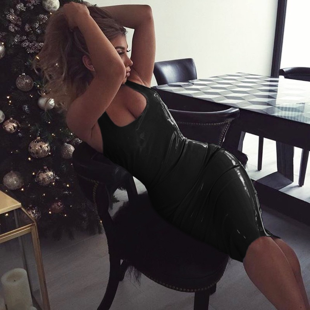 Sexy Lak wetlook jurk Zwart