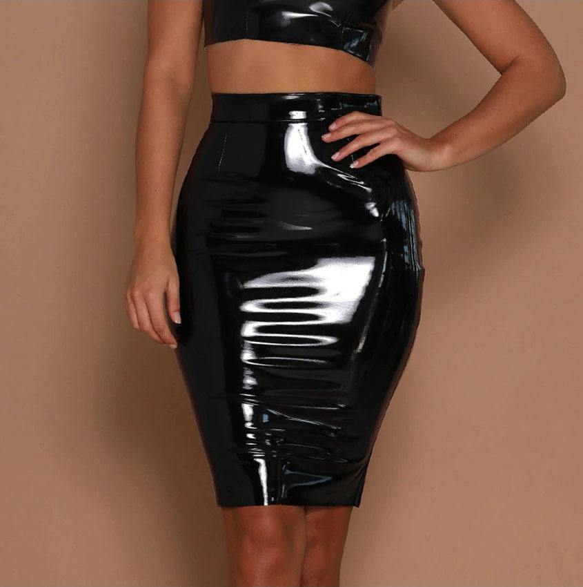 Sexy Lack wetlook Skirt Black