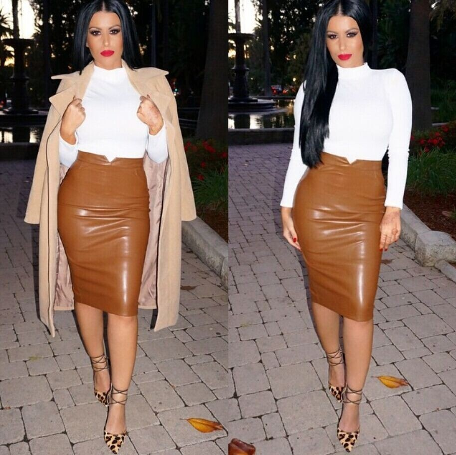Faux-Leather Skirt Brown