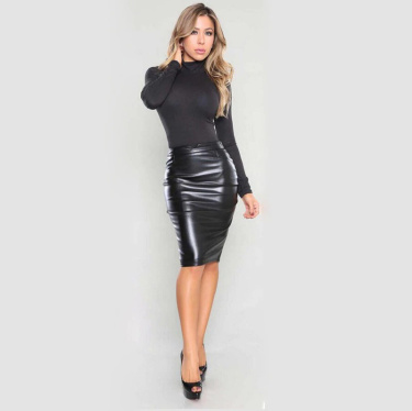 Faux-Leather Skirt Black