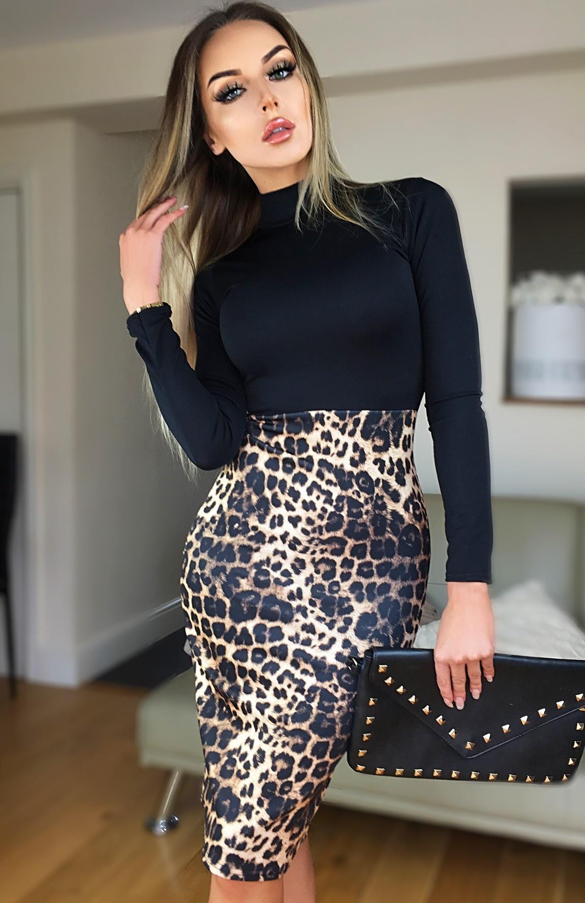 Beatrice dieren-print jurk zwart