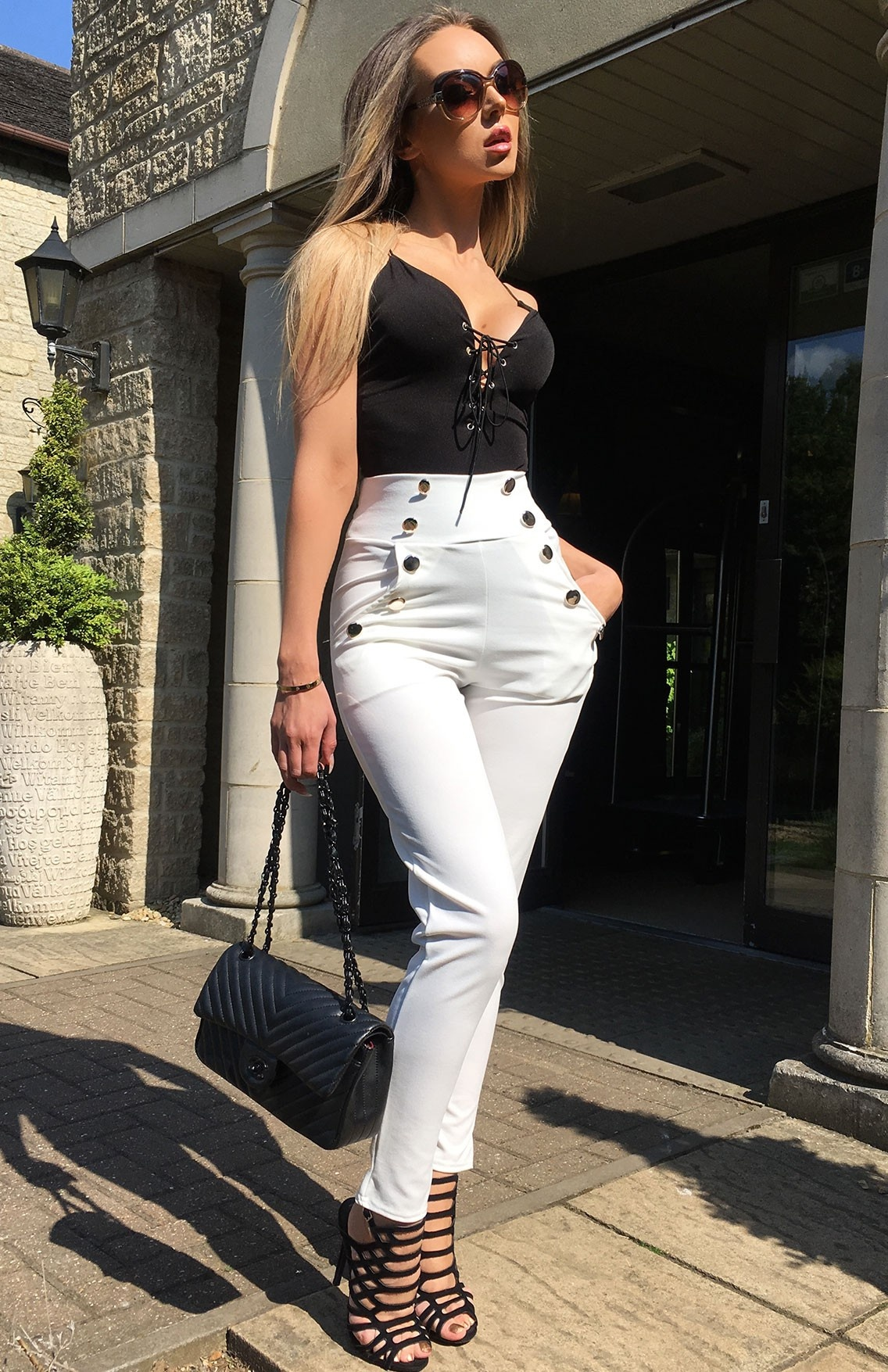 Hannah High Waisted Trousers Ivory