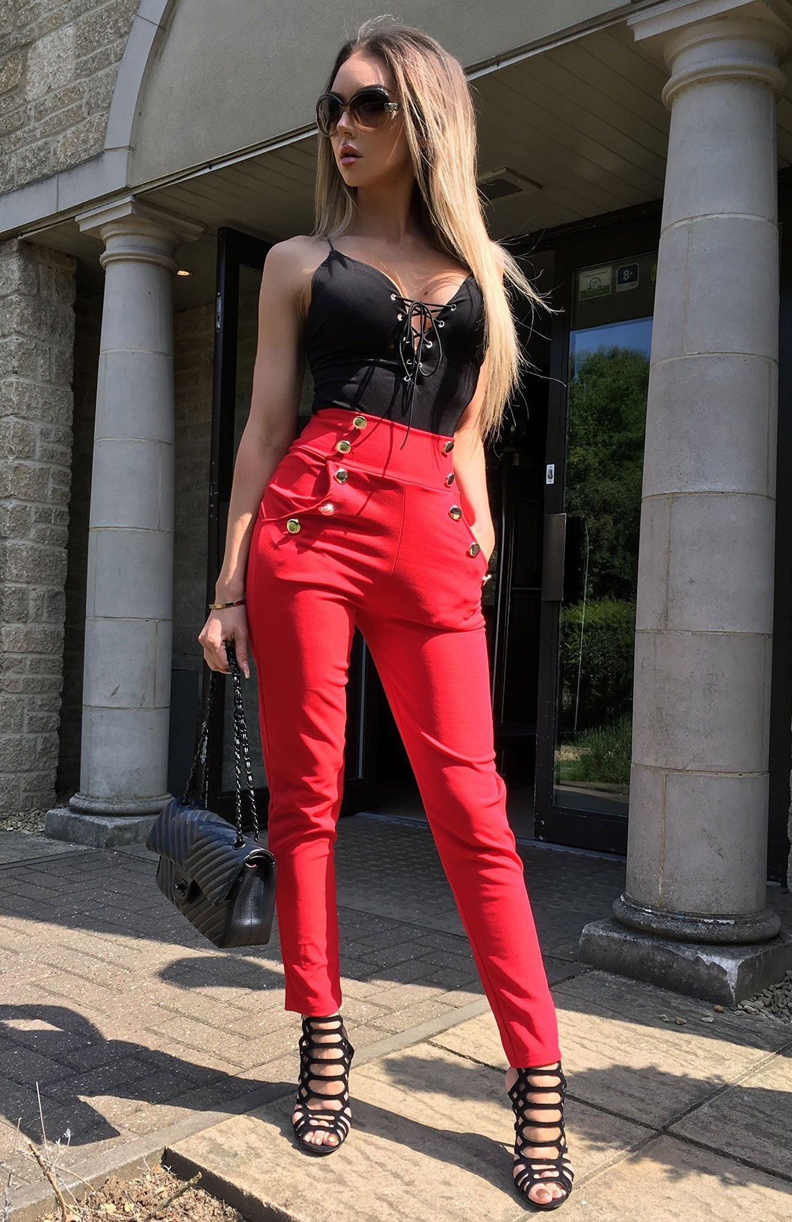 Hannah High Waisted Trousers Red