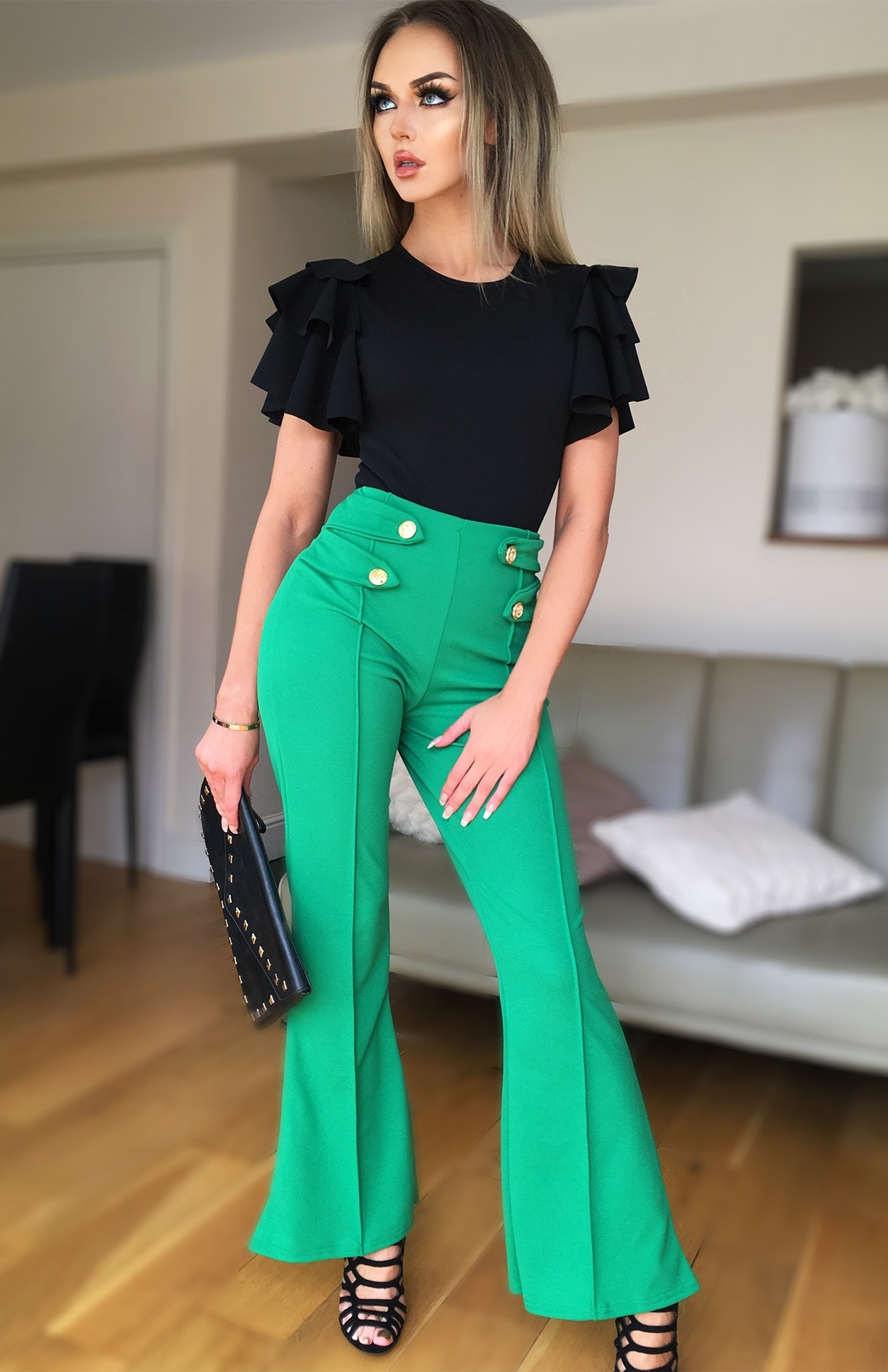 Ciska button detail flared broek jade