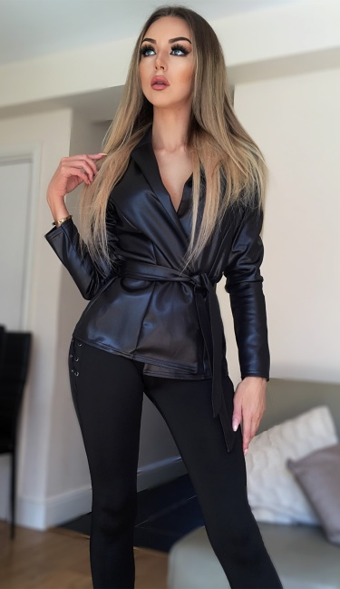 Anisha Wet Look Belted Jacket Black