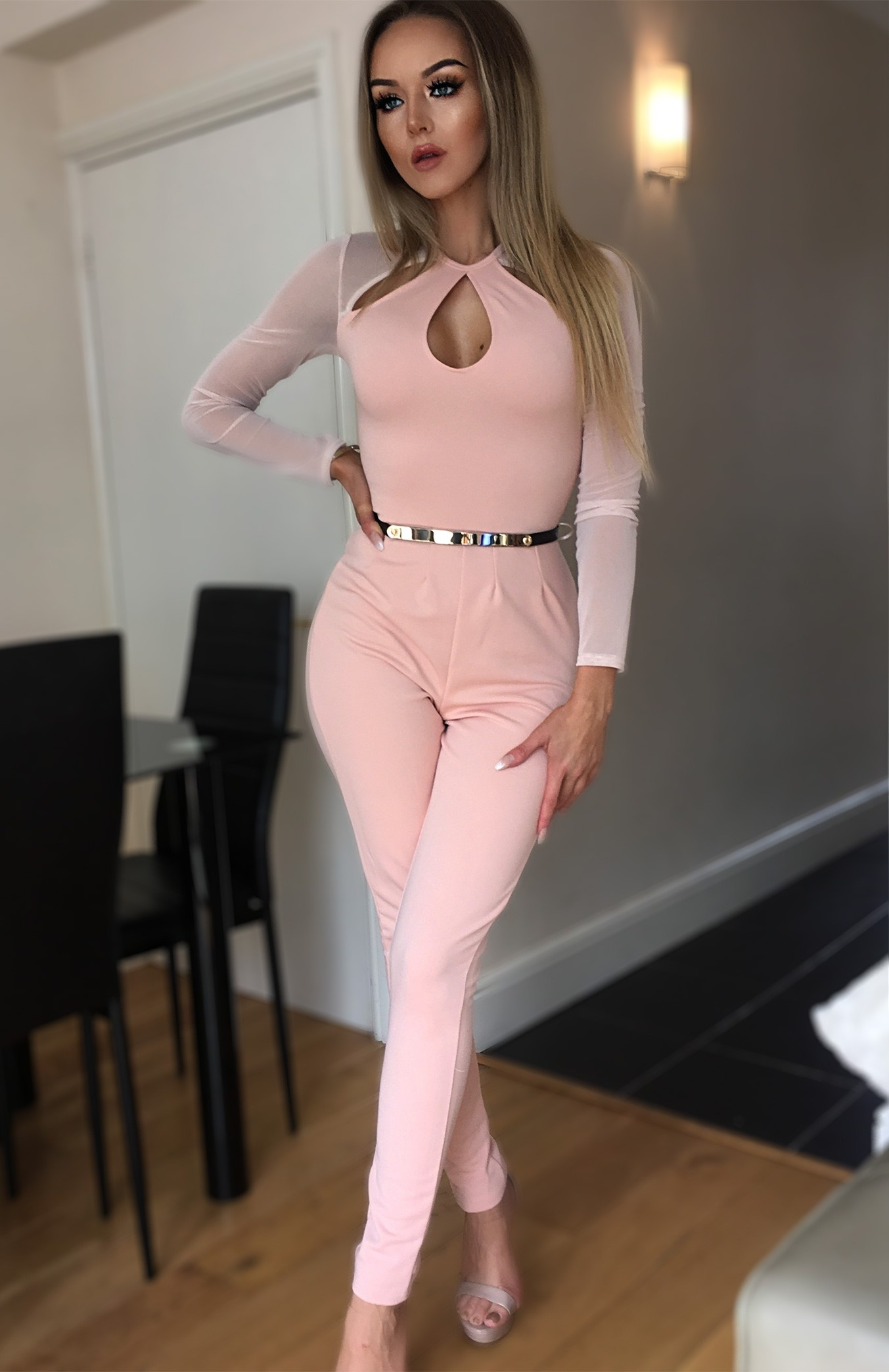 Tyra Cut Out Mesh Insert Jumpsuit Nude