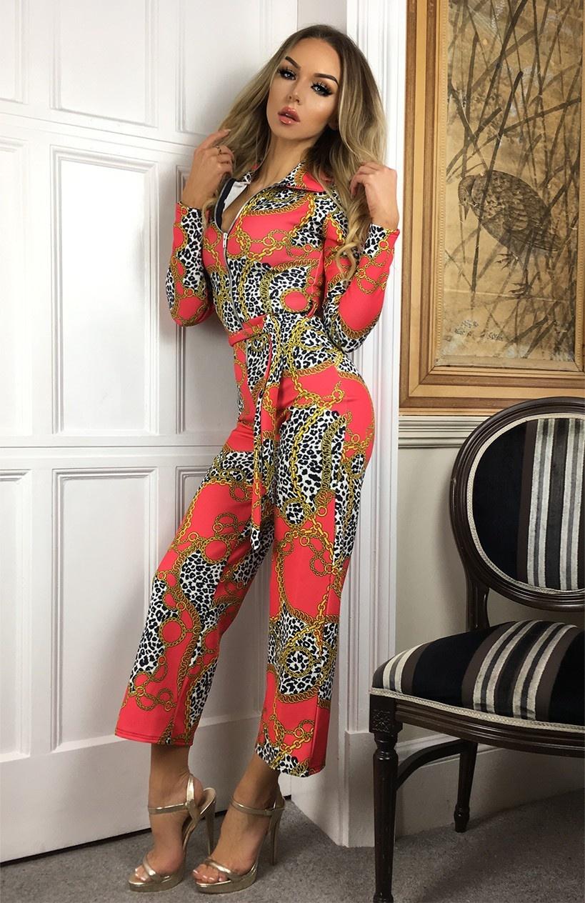 Ahana paisley dieren-print front ritssluiting jumpsuit koraal-kleurig