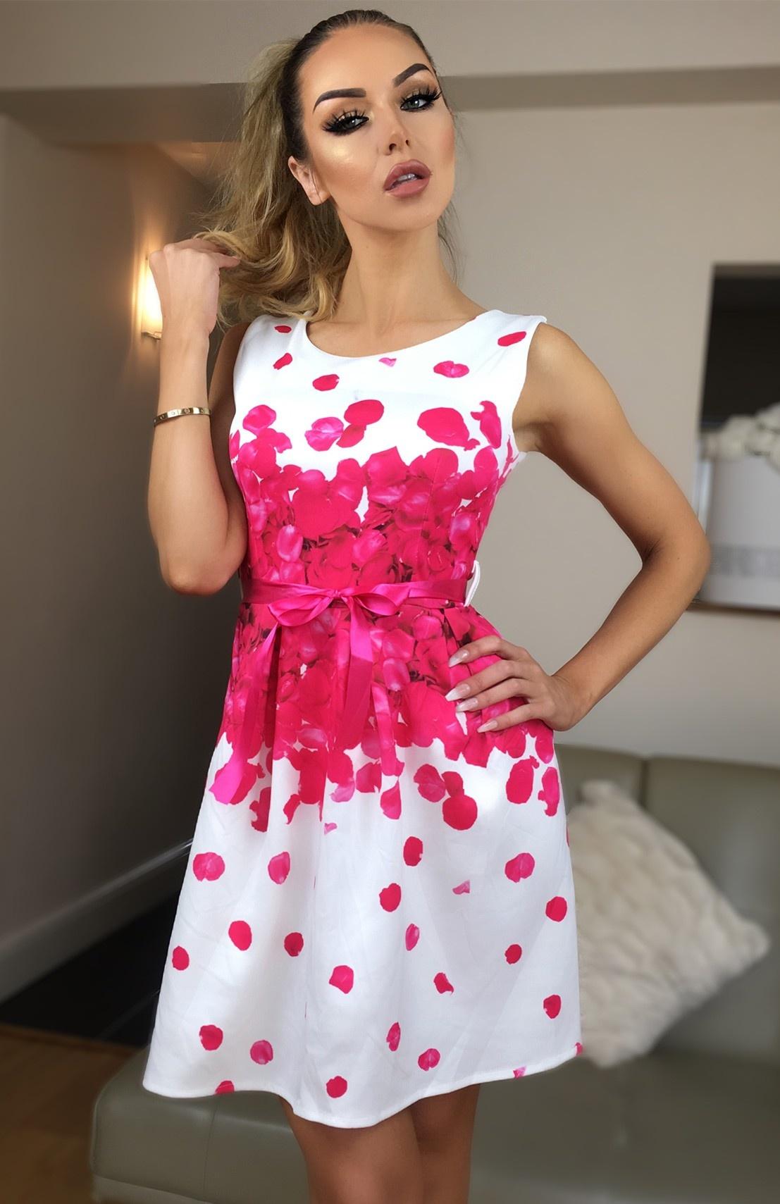 Amal Clooney Inspired Skater Dress Hot Pink