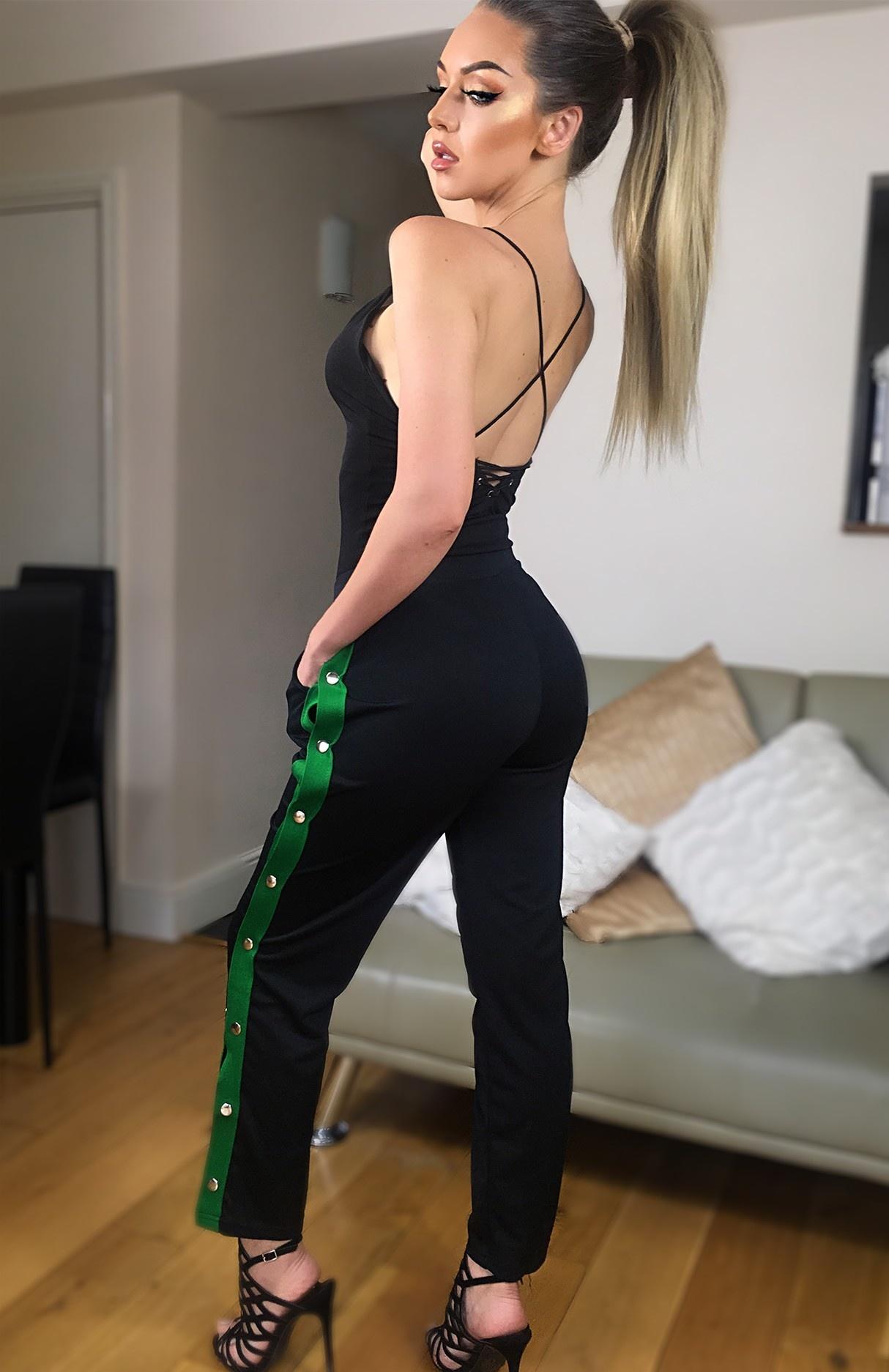 Mimi side button broek jade