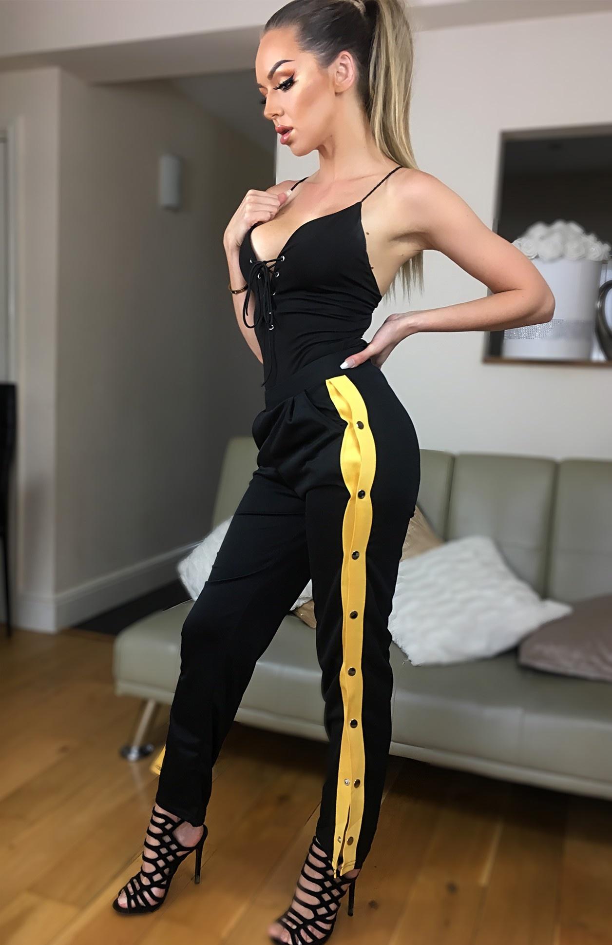Mimi side button broek geel