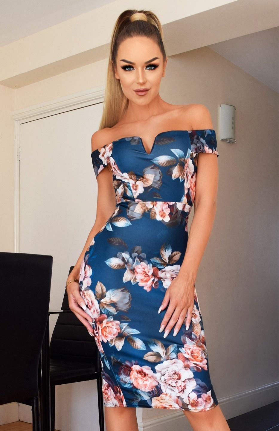 Nikita Floral Bardot Dress Teal