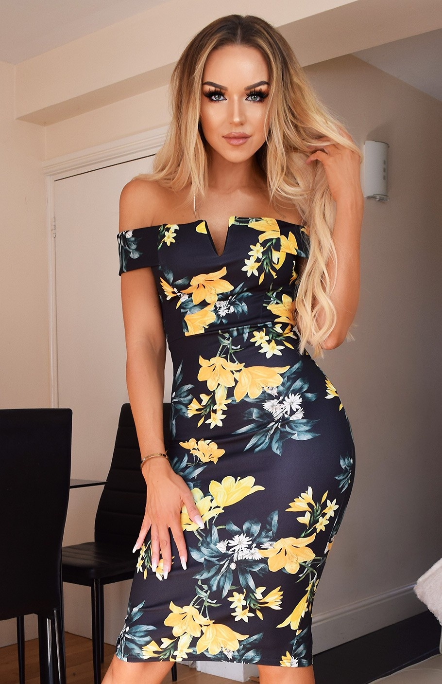Nikita Floral Bardot Dress Black