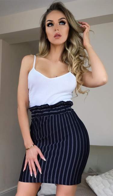 Stacy Striped Paper Bag Skirt Navy