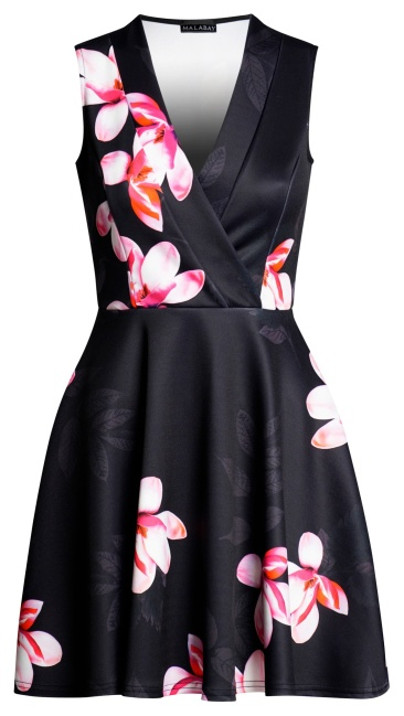 Kerry Front Wrap Skater Dress Black