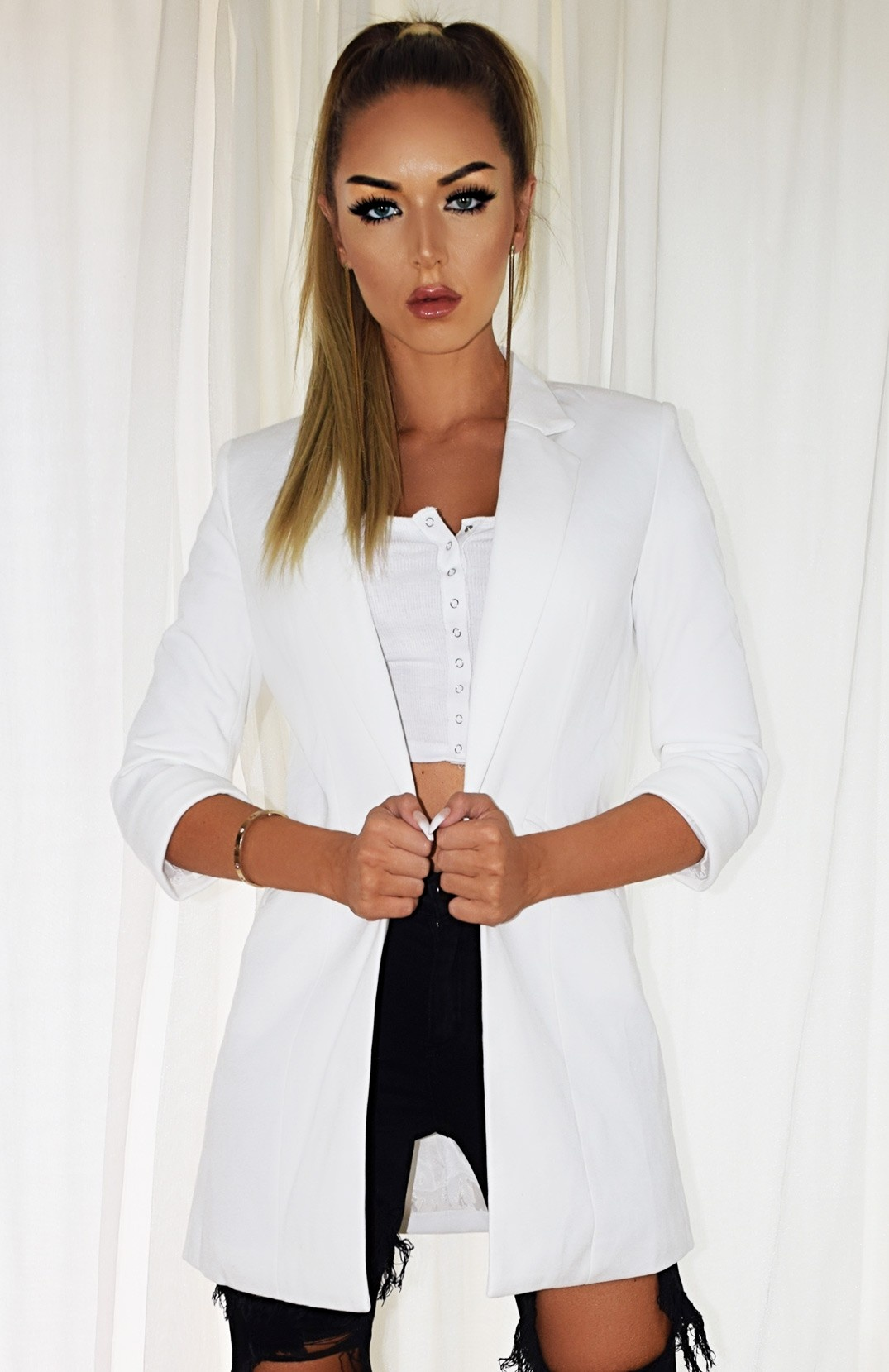 Fleur Pocket Illusion Blazer Jacket Ivory