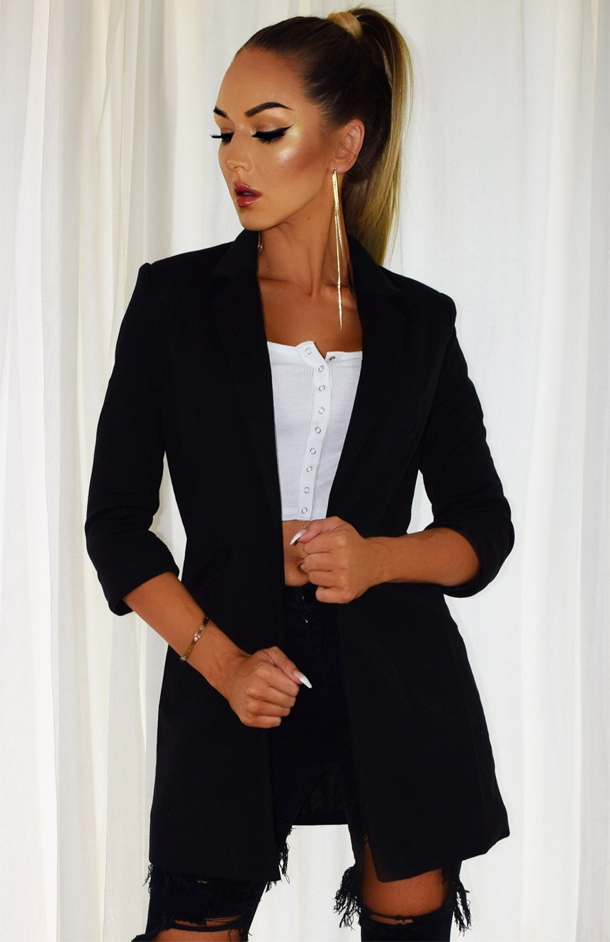 Fleur Pocket Illusion Blazer Jacket Black