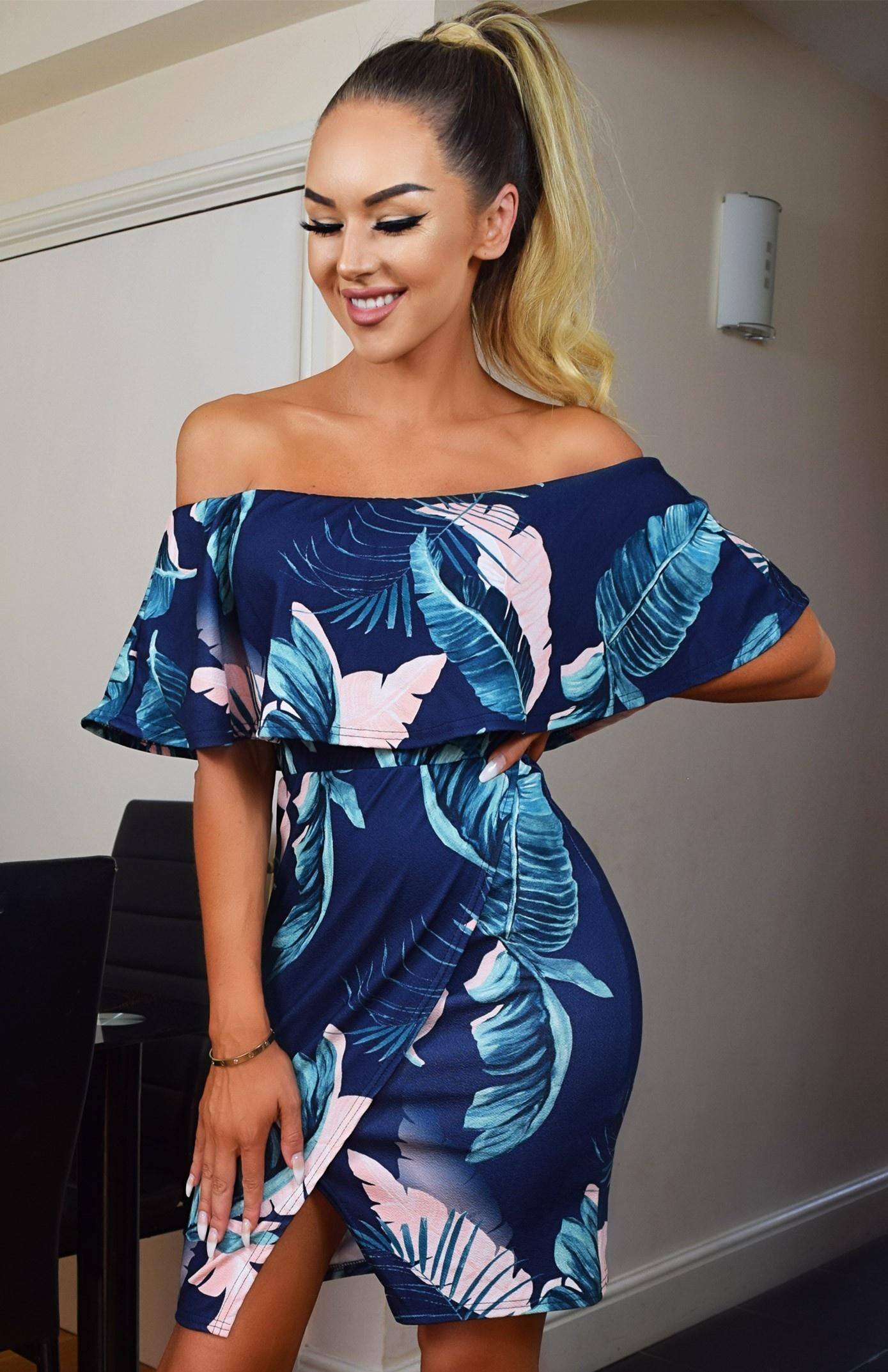Harriet Floral Bardot Dress Navy