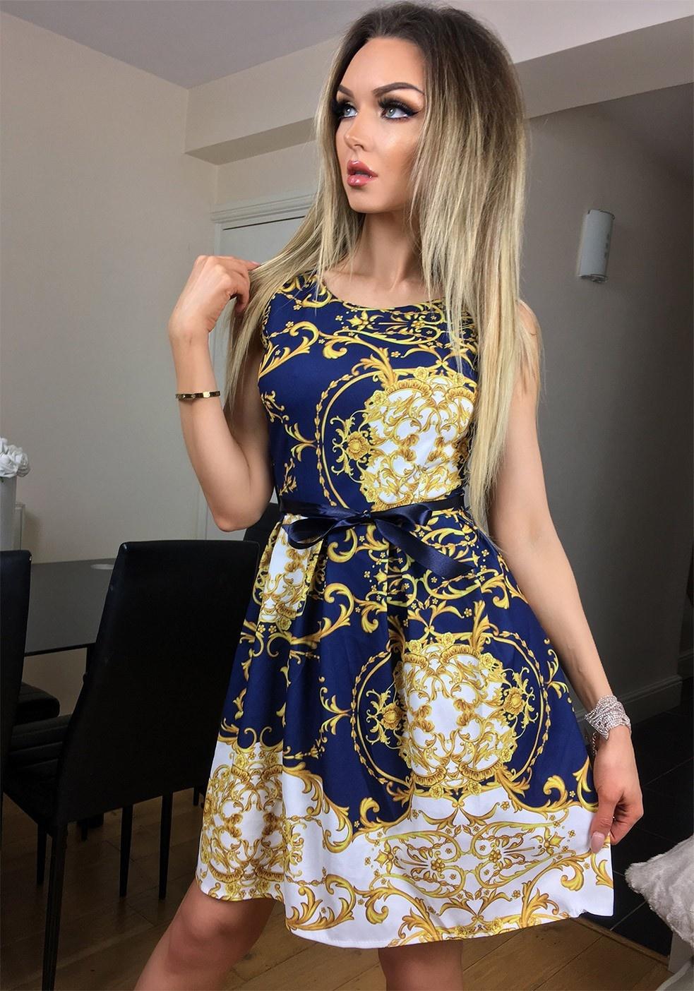 Candice Paisley Skater Dress Navy