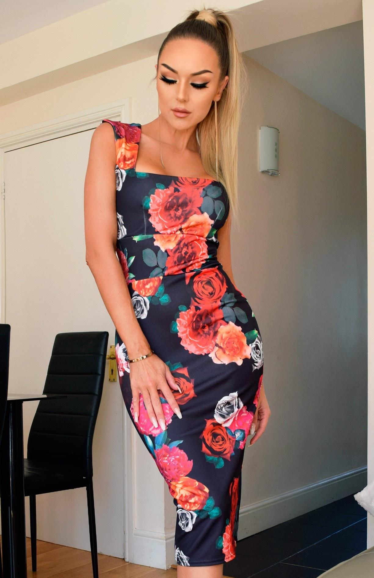 Alisha Floral Bodycon Dress Black