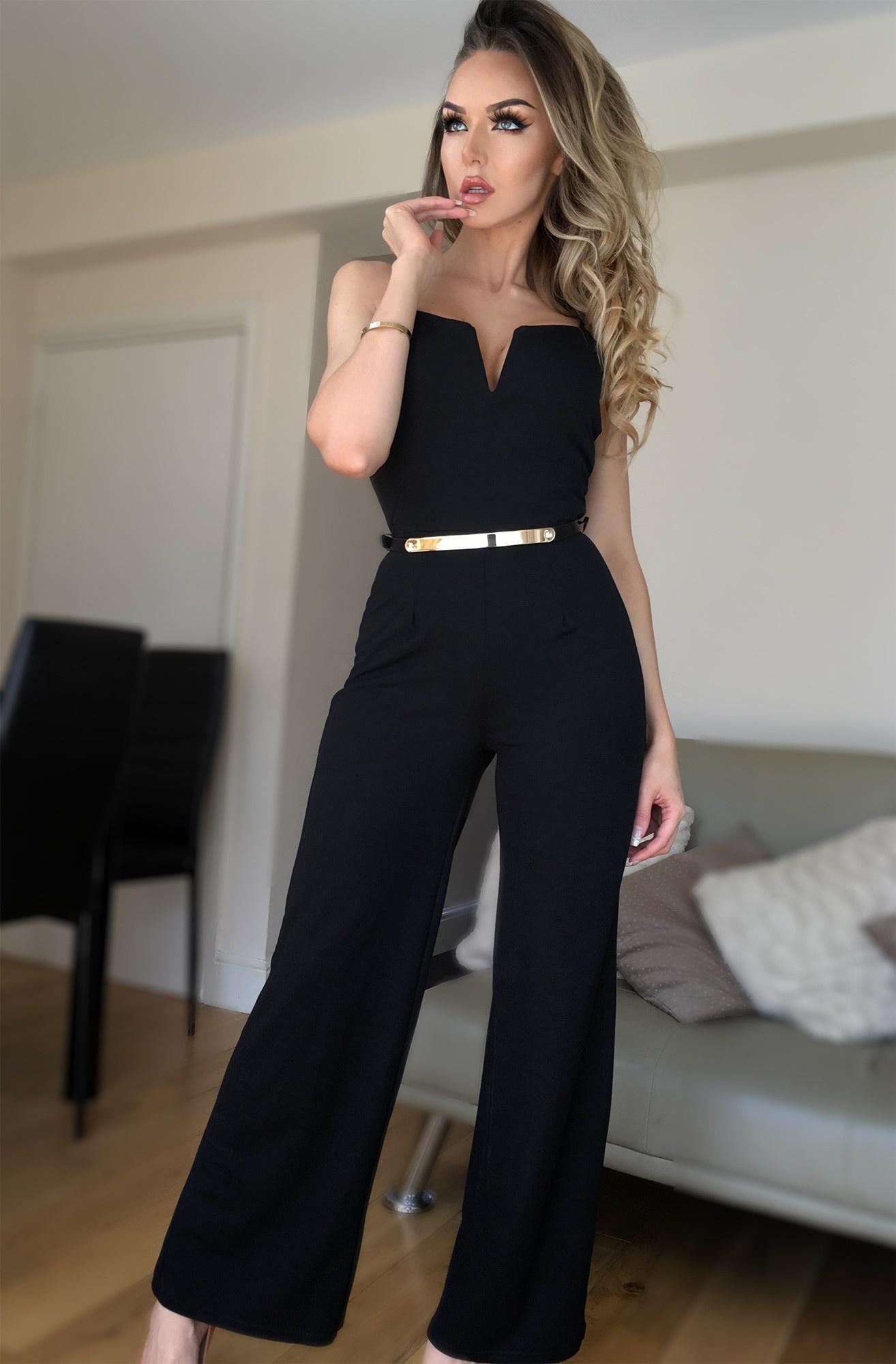Adeline Crepe Belted Jumpsuit Black