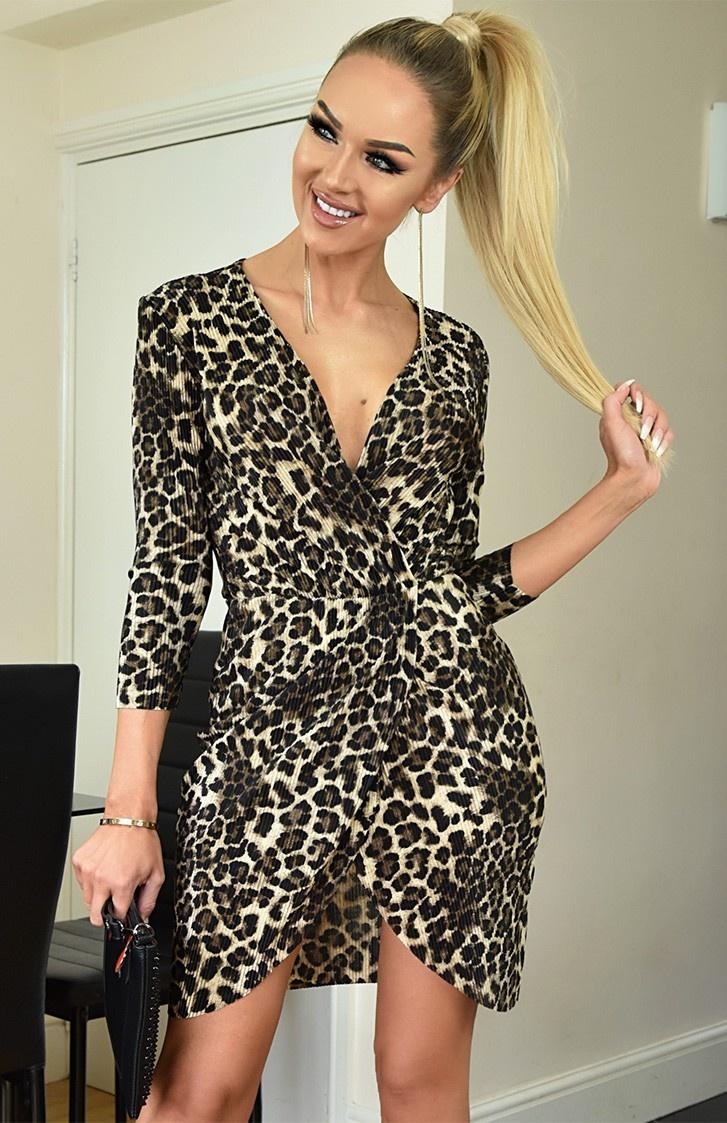 Andrea luipaard crinkle front wikkel jurk bruin