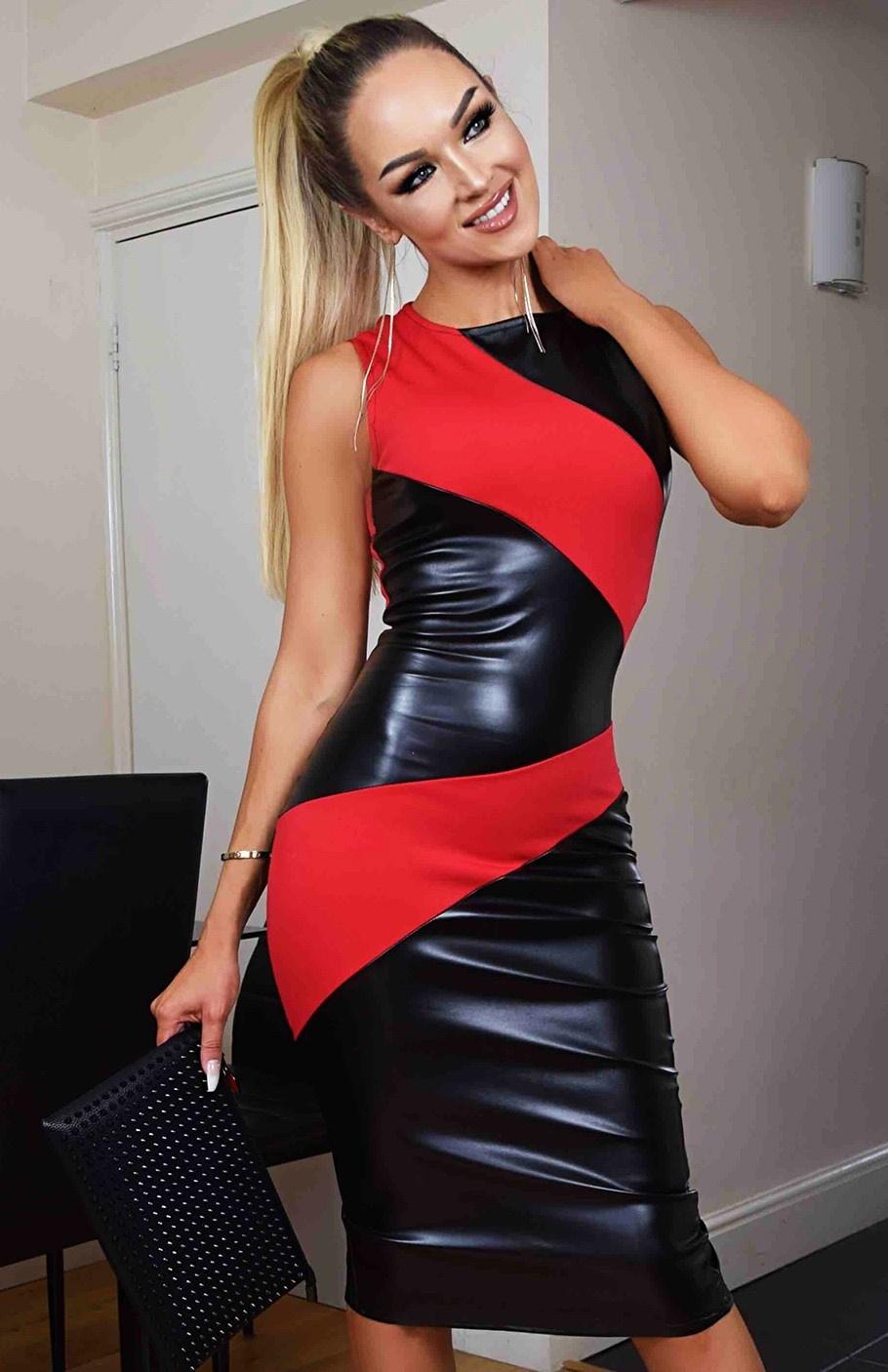 Zelia Wet Look Midi Dress Red