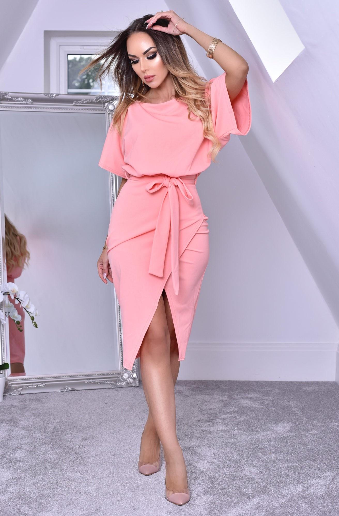 Judith Wrap Front Batwing Dress Peach