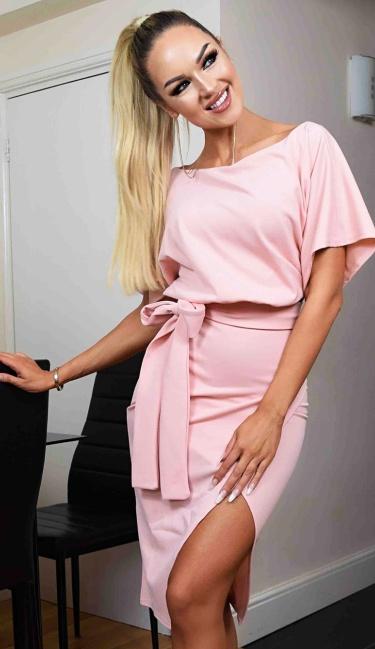 3bf6f65329 Judith Wrap Front Batwing Dress Nude - ep0124-3 van Exclusive ...