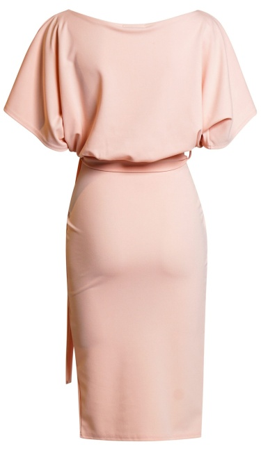Judith Wrap Front Batwing Dress Nude