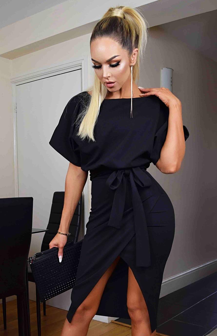Judith Wrap Front Batwing Dress Black
