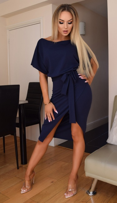 Judith Wrap Front Batwing Dress Navy