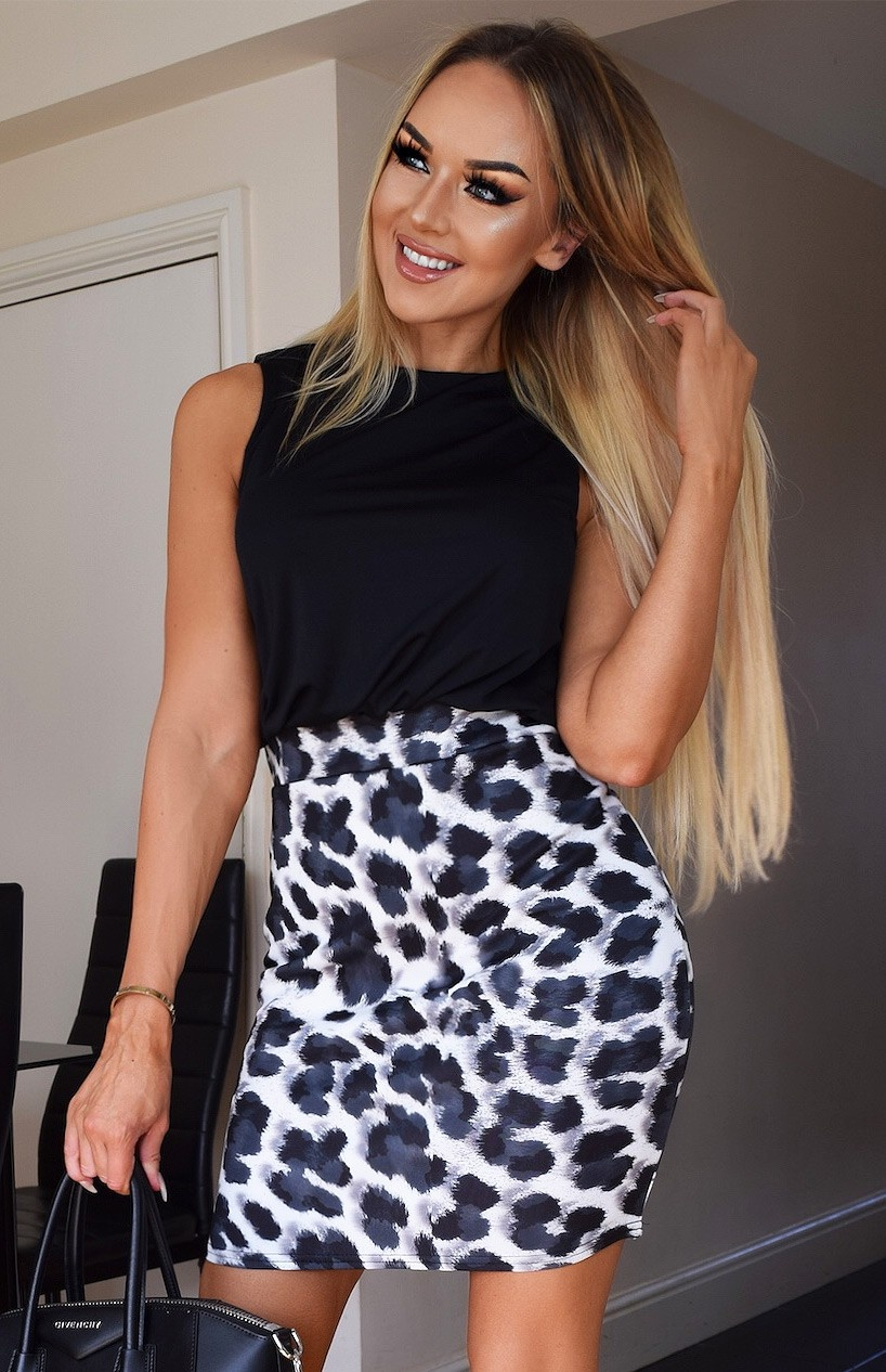 Chloe dieren-print jurk zwart