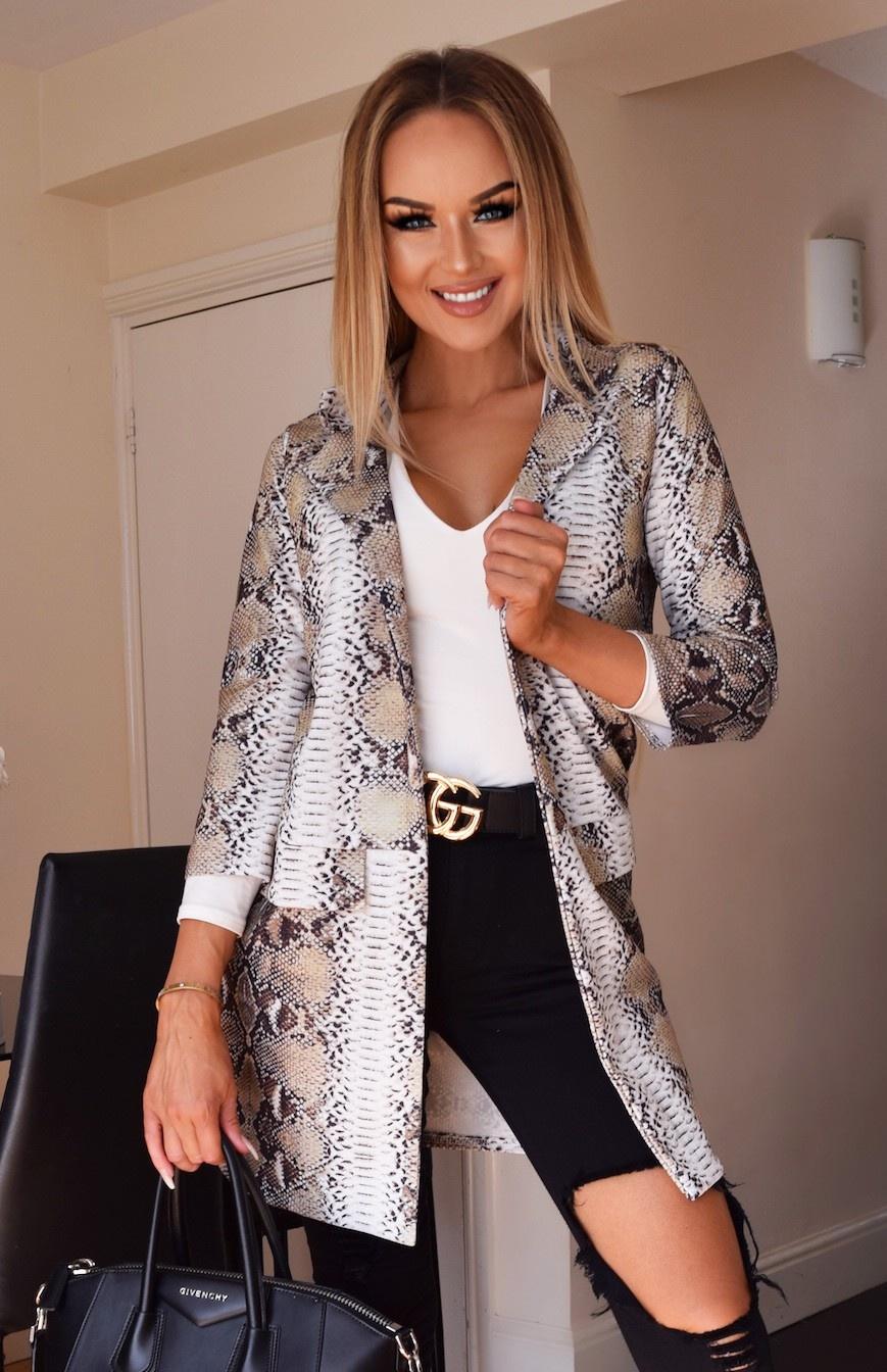 Britney Animal Longline Jacket Khaki