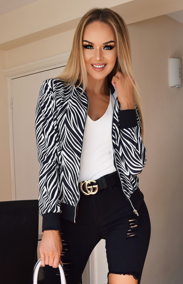 Kaya Animal Print Zip Jacket Black